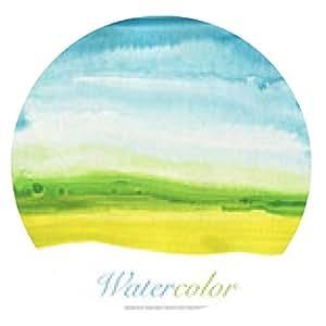 alfombrilla de ratón La mano acuarela abstracta pintado de fondo del paisaje. Con textura - ronda - 20cm