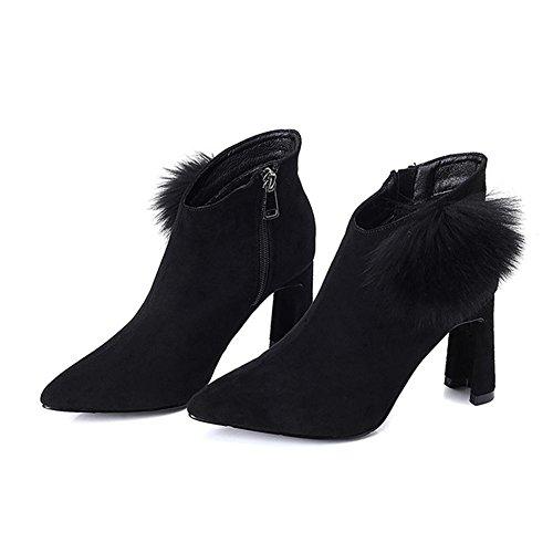 Ankle Shoes Zipper BLACK Women Heels Thicker Plush Short 36 Boots High Warm Leather R6Uzqn