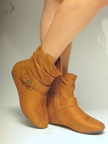 Herstyle SHEARLLY Faux Suede Buckled Up Side Zipper Slouch Ankle Booties Flat Heel Calf Boots