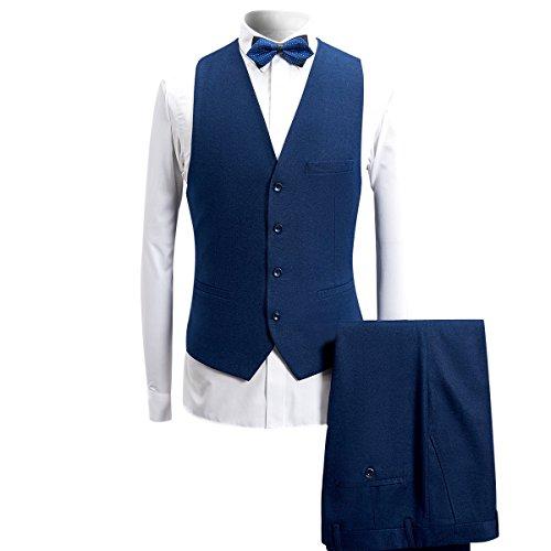 Pezzi Giacca Da Gilet 3 Giacca Cerimonia Bavero Smoking Abito 1 Uomo Slim Pantaloni Con Nero Bottone Sciallato E Casual Collo Nuziale Blu Vestibilità dSqwaxX