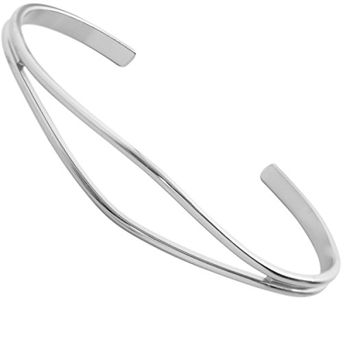 Humble Chic Open Cuff Bracelet - Hypoallergenic Adjustable Double Skinny Bar Narrow Bar Wire Infinity Bangle, 925 White, Sterling Silver-Electroplated, Hypoallergenic