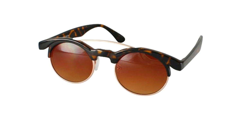 Amber Tortoise Retro Designer Steampunk Sunglasses Gold Curved Bridge Dark Lens