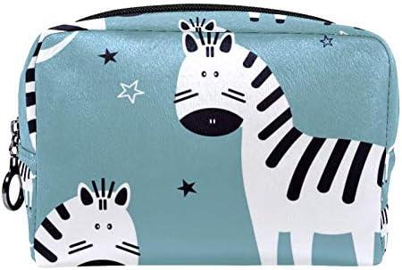 Makeup Toilettas voor Vrouwen Portemonnee Cosmetische Travel Kit Organizer Zebras en Sterren
