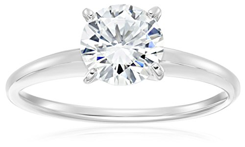 Platinum Plated Sterling Silver Round Cut 6,5mm Cubic Zirconia Solitaire Ring, Size 6
