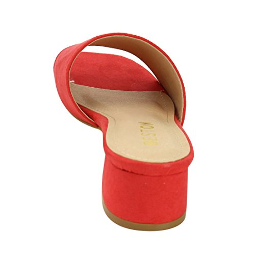 BESTON DE52 Womens Low Heel Sandals Slip on Slides Slippers Run One Size Small Red A1WdCCZ3