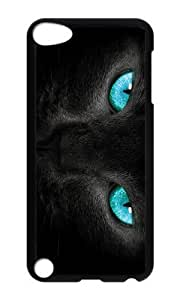 Ipod 5 Case,MOKSHOP Adorable cat turquoise eyes Hard Case Protective Shell Cell Phone Cover For Ipod 5 - PC Black