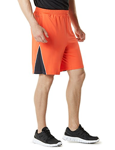 TSLA Men's Multi Pocket Workout Perfomance Quick-Dry Athletic Shorts, Jersey(mbs03) - Orange, Medium.