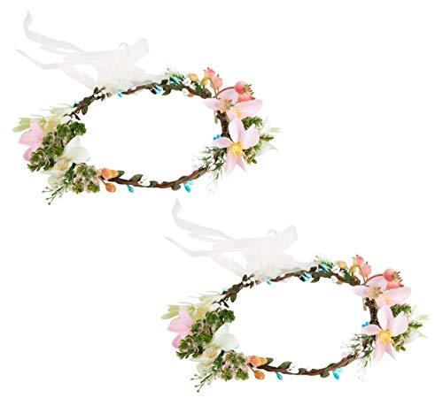 Pack of 2 Flower Headbands - Adjustable Floral