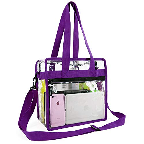 Clear-Bag-Stadium-Approved-12 x 12 x 6 Front Zippered Pocket and Adjustable Shoulder Strap NFL Stadium Security Travel & Gym Clear Tote Bag, Perfect for Work School Sports Games and Concerts