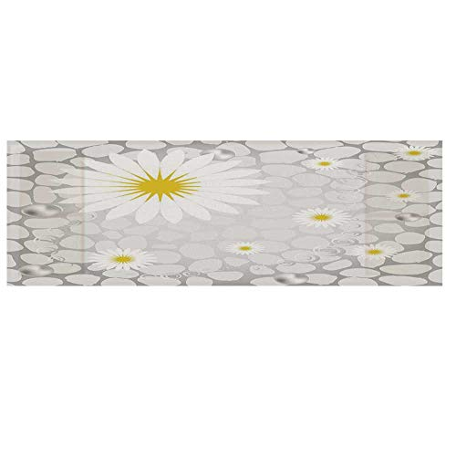 Grey and Yellow Cotton & Linen Microwave Oven Protective Cover,Hawaiian Island Flowers on Abstract Animal Print Theme Backdrop Cover for Kitchen,36