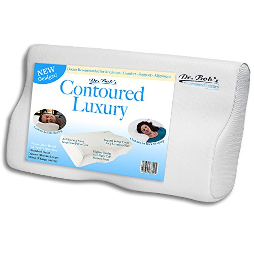 King Size - Contoured Luxury - Neck and Cervical Pillow by Dr. Bob's - Memory Foam Contours for Back-Sleeping and Side-Sleeping, Jaquard Velour Cover, Open cell foam, Stays Cool, 3 Sizes - Memory Plus Pillow