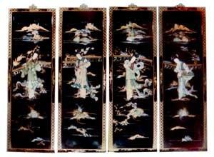 Amazon Com Oriental Black Lacquer Wood Wall Panels Four