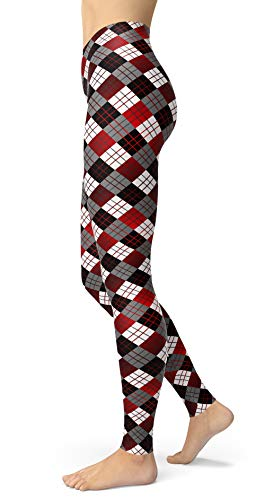 Women's Checkered Plaid Printed Leggings Stretchy Brushed Buttery Soft Tights (One Size(XS-L/Size 0-12), Stripe Check)
