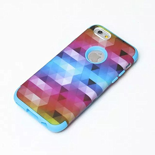 iPhone 6 Case , iPhone 6S Case, Lantier antichoc Case hybride triple couche de protection en plastique dur avec Housse silicone souple pour Apple iPhone 6 / 6S 4,7 pouces (Triangle rose)