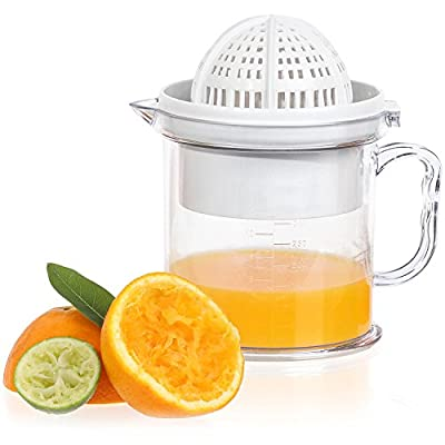 Jumbl 2-in-1 Citrus Juicer & Manual Berry Fruit Press Squeezer - Bowl Doubles as a Serving Cup w/ a Handle & Measuring Markings