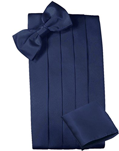 Mens Satin Cummerbund Bowtie Hanky set, 4 Pleat, Large Variety of Solid Colors Available, by Platinum Hanger (Navy)