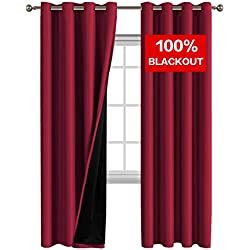 Flamingo P 100% Blackout Curtain Set, Thermal Insulated & Energy Efficiency Window Drapery, Lined Silky Performance, Cardinal Color, Grommet, Set of 2, W52 x L84