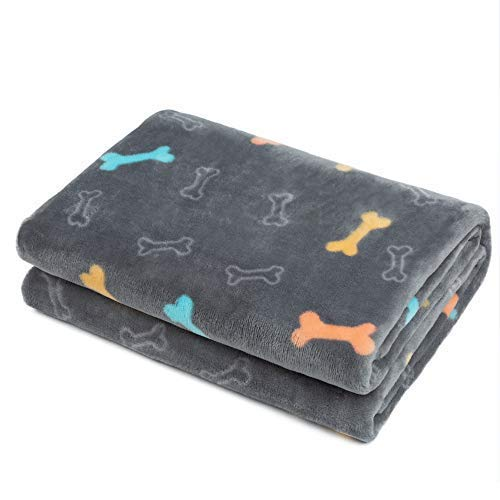 Allisandro Fluffy Pet Dog Blanket - Machine Washable - Durable and Quilted Plush Puppy Cat Blanket - 4 Size Soft and Warm Flannel Fleece Blanket - Suit for Large Medium Small Pets