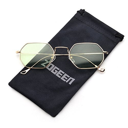 ZOGEEN Men Women Sunglasses Small Metal Frame Asymmetry Temple Z674 - Trust Can Sunglasses You