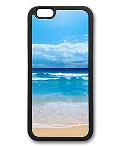 iCustomonline Clear Ocean Beach Skyline Custom Black Rubber Case for iPhone 6( 4.7 inch)