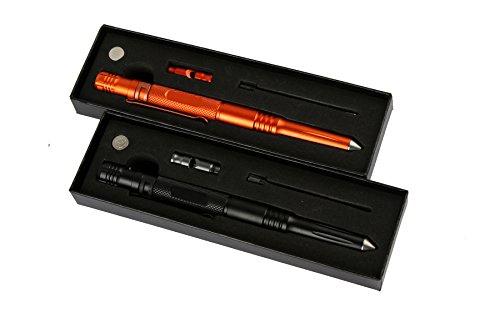 Tactical Pen Self Defense Pen Multifunctional Tool 4 in 1 including Glass Breaker,whistle,Led Falshlight,Ballpoint Pen (black and orange)
