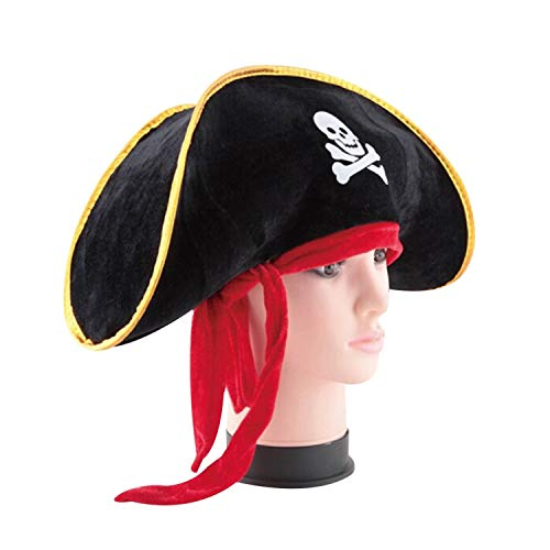 Flower cat Pirate Captain Hat Skull & Crossbone Design Cap Costume for Fancy Dress Party Halloween Polyester,Australia