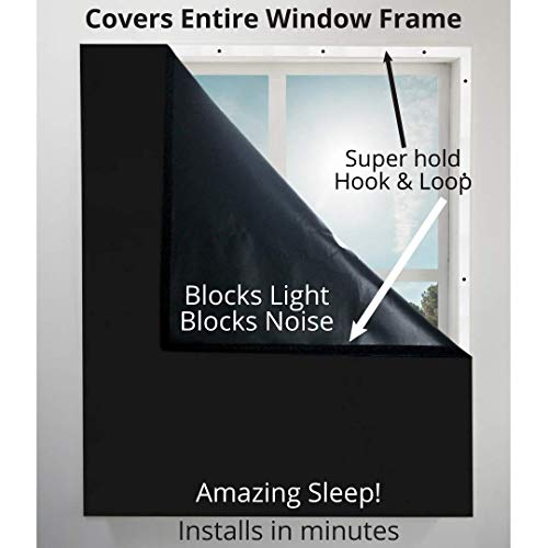 Blackout Window Cover Blocks Light, Blocks Noise, Saves Energy. Covers Entire Window Frame. Great for Bedroom Windows, Privacy, and More - Sleep Better 39