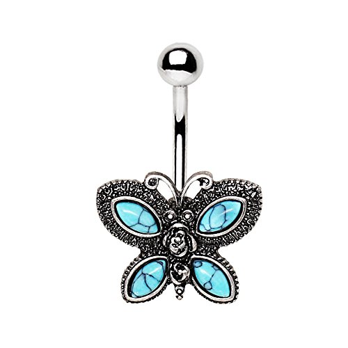 Amelia Fashion 14 Gauge Butterfly Antique Silver Navel Ring Turquoise Stone Setting 316L Surgical Steel (Turquoise & Silver) ()