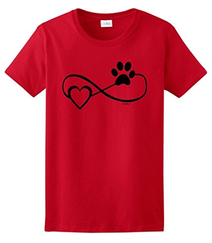 Dog Cat Lover Gift Infinite Love Infinity Symbol Ladies T-Shirt 3XL Red