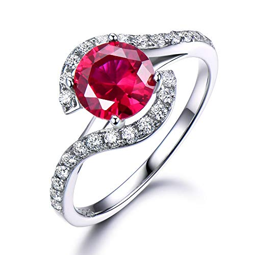 Round Cut Lab Ruby CZ Diamond Engagement Ring Solid 14k White Gold Cubic Zirconia Wedding Red ()