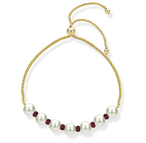 14k Yellow Gold Bolo Bracelet with Simulated Red Ruby and Freshwater Cultured Pearl Bridesmaids Bracelet ()
