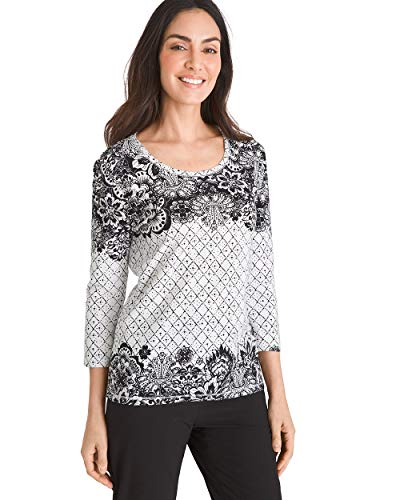 - Chico's Women's Zenergy Floral Geometric-Print Top Size 4/6 S (0) Black/White