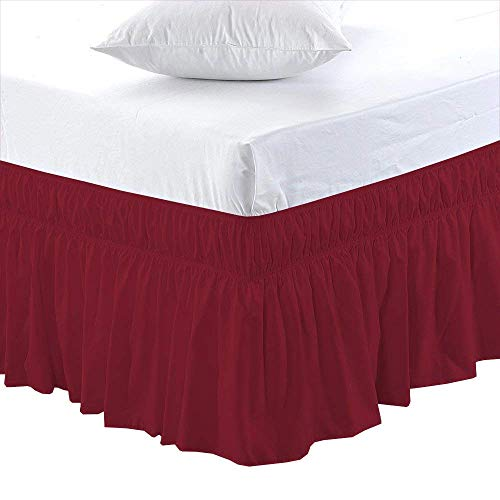 Burgundy, Full Size 6 inch Drop - Wrap Around Elastic Bed Skirt - Poly Cotton - Easy On/Easy Off Dust Ruffled Bed Skirts Soft & Wrinkle Free Bed Skirt.
