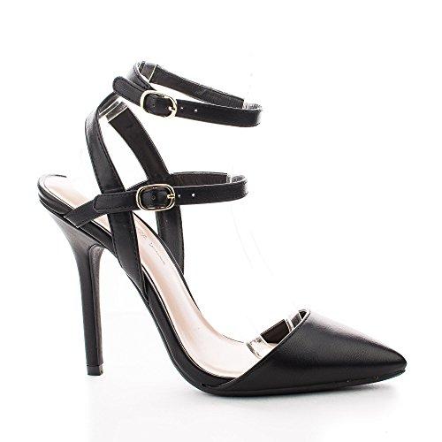 Adora94 Black D'orsay Pointy Toe Strappy Ankle Stiletto Dress Heels-5.5