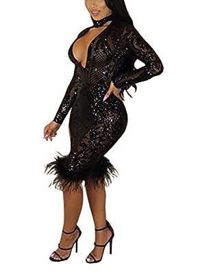 Mojessy Women's Bodycon Midi Dress Deep V Sequined Fishtail Bandage Mermaid Dress
