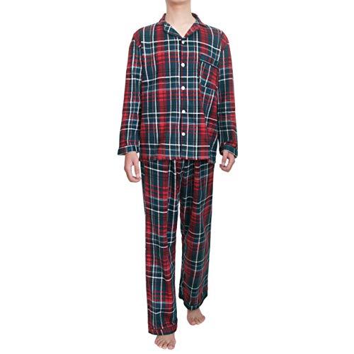 Yoimira Men's Pajamas Set Short/Long Sleeve Crew Neck Lounge Sleepwear Red ()