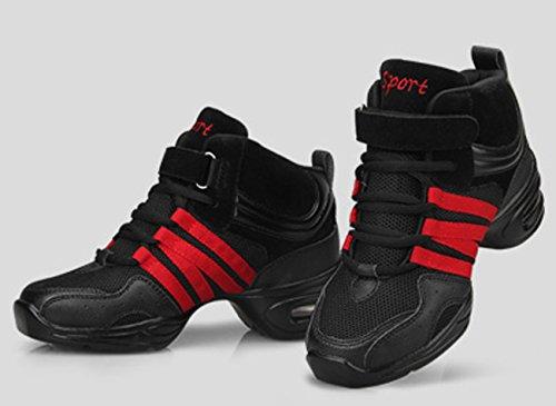 Athletische Trainings Tanzschuhe Sport VECJUNIA Sole Damen Bequeme Schwarz Turnschuhe Mesh Jazz Rot Fitness Split Soft Gymnastik 4R56R