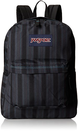 JanSport Superbreak Backpack – Mammoth Blue Pinstripe 16.7H x 13W x 8.5D