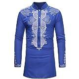 kaifongfu African Shirt,Men's Long Sleeve Shirt Top Dashiki Shirt for Autumn WinterBlueM