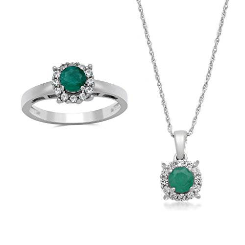 Jewelili Sterling Silver Emerald with Created White Sapphire Halo Pendant Necklace and Ring Box Set, Size 7