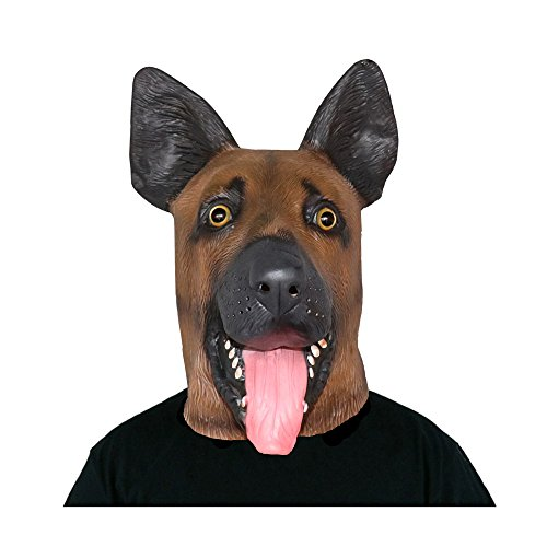 Amazlab Under Dogs Super Bowl Party Supply Latex German Shepherd Dog Head Mask Decoration Halloween Party Novelty Props Supplier (Painted Lion Faces For Halloween)