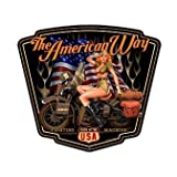Past Time Signs SM298 American Way Motorcycle Custom Metal Shape by Past Time Signs