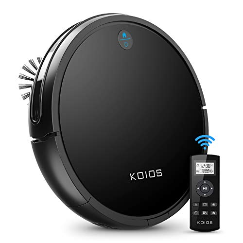 Robot Vacuum Cleaner by KOIOS - I3 80% Higher Suction Robotic Vacuum Cleaner with Self-charging & Drop-sensing Technology, HEPA Filter for Pet Fur, 2600mAH Battery Long Time Floor Cleaner