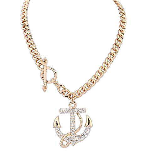HeyGirl Women Fashion Ship Anchors Short Paragraph Clavicle Chain Retro Flash Diamond Necklace (Strand Marcasite Multi)