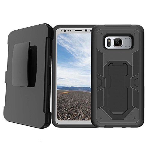 Durable Samsung Galaxy S8 Active SM-G892A Case Cover [ NOT FOR REG S8] Black Phone Case for S8 ACTIVE, MINITURTLE Clip Armor Hybrid Belt-Clip + Kickstand Case