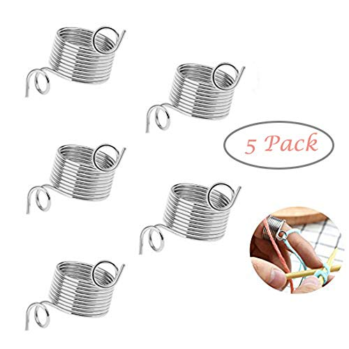 Knitting Thimble,Bagvhandbagro 5Pcs Metal Yarn Guide Knitting Thimble,Thimble Finger Ring,for Knitting Crafts Accessories Tool(Random Size)