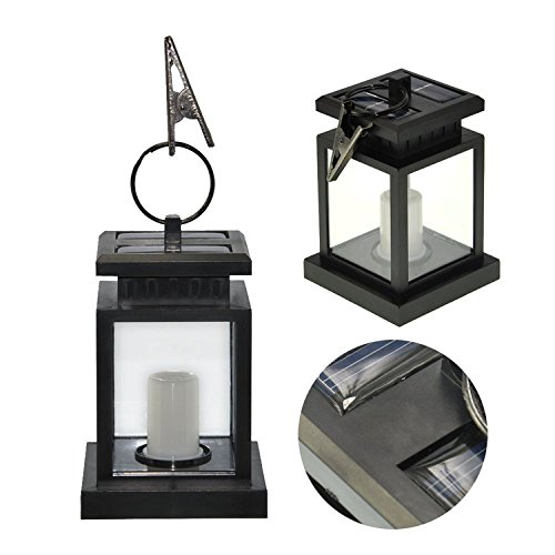 HiqLED Bright Outdoor Vintage Hanging LED Solar Lantern Candle Lamp Spotlight for Garden, Balcony, Driveway, Pathway, Yard, Lawn, Umbrella Landscape