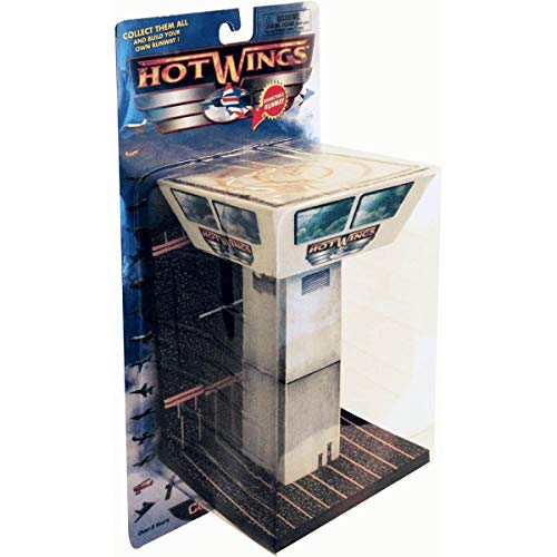 Hot Wings Planes 16107 Hot Wings Control Tower with Connectible Runway Die Cast Model Airplane, Grey/Black/Yellow ()