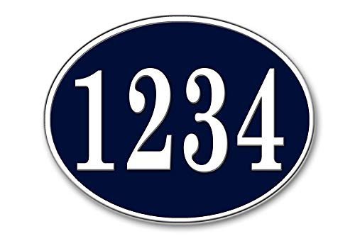 West Coast Curb-N-Sign Oval Reflective Address Plaque (Navy Blue)