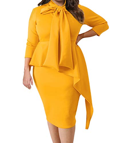 (Lalagen Women's Plus Size Long Sleeve Peplum Tie Neck Bodycon Pencil Midi Dress Orange XL)
